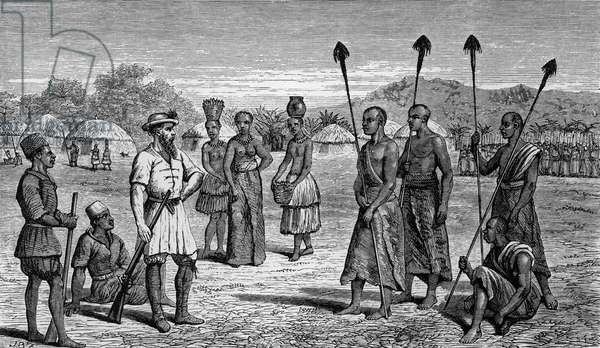 Explorer Samuel White Baker being interviewed by chiefs as he enters Bunyoro kingdom, they believe him to be John Hanning Speke's brother, Uganda, engraving from Albert N'yanza: great basin of Nile, and explorations of Nile sources, by Samuel White Baker