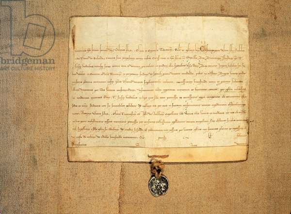 The bull with which Pope Innocent IV approved the donation of the city of Turin made by Emperor Frederick II to Thomas of Savoy, 1253, Italy, 13th century