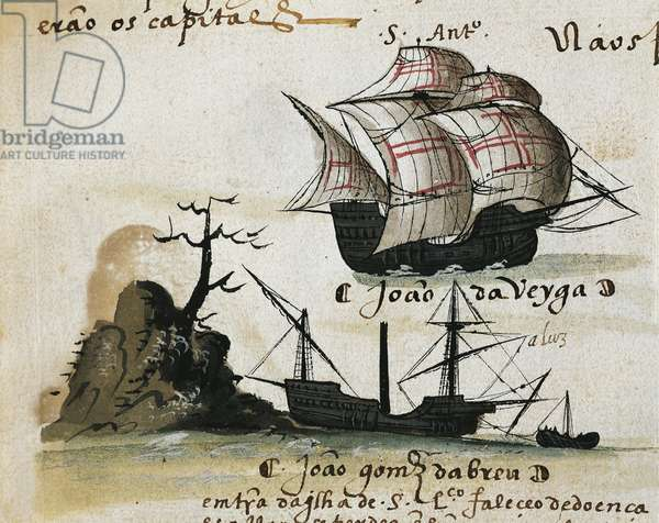 Disembarking from a Portuguese caravel, 1506, from from the Memory of Armadas, manuscript.