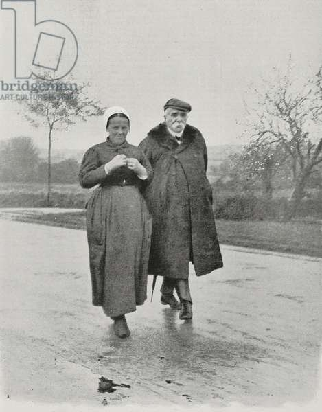 Georges Clemenceau walking in his hometown, Mouilleron-en-Pareds, France, photo from L'Illustration, No 3404, May 23, 1908