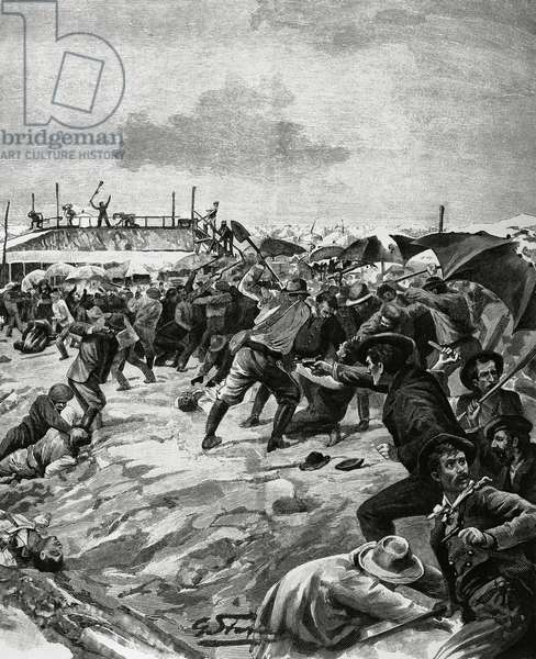 Massacre of Italian immigrants at Aigues-Mortes, the first attack in Fangouse salt works, France, August 1893, illustration from L'Illustrazione Italiana
