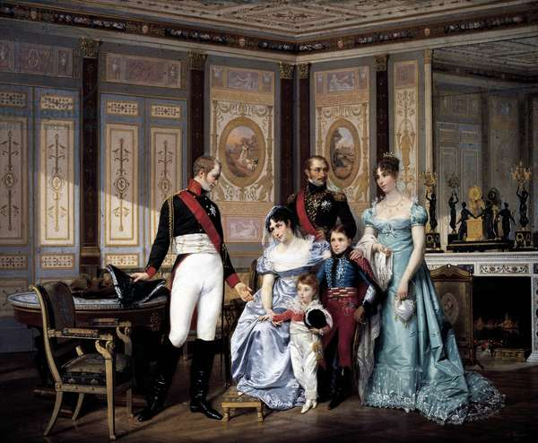 Josephine Beauharnais receiving visit from Tsar Alexander I in 1814, with her children and grandchildren Eugene and Hortense (including future Napoleon III), painting by Jean Louis Victor Viger(1819-1879), ca 1864, oil on panel, 59, 5 x 75 cm