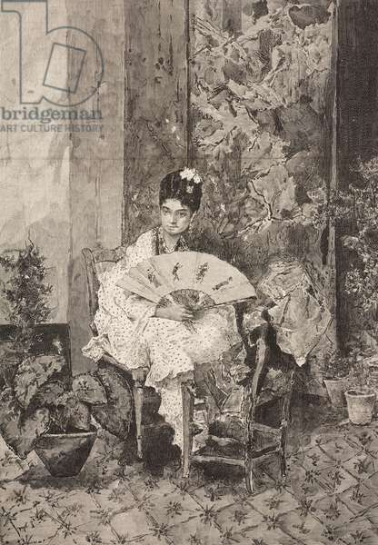 Portrait of wife of painter, woman with fan, engraving based on watercolor by Mariano Fortuny (1838-1874), illustration from La Ilustracion Espanola y Americana magazine, Year 19, Number 19, May 22, 1875