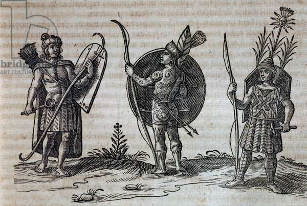 Types of French Canadian Indians, illustration from Description of Nouvelle-France, 1633, by Joannes de Laet, France, 17th century