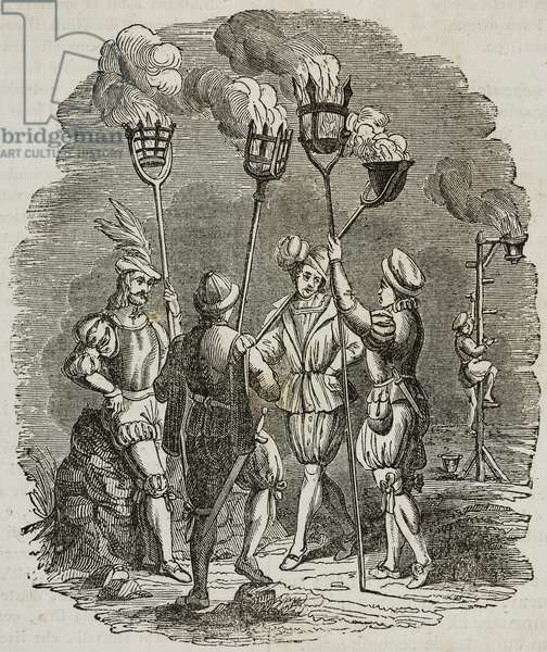 Night guards lighting street lamps with flame torches, at time of King Henry VIII, London, United Kingdom, 16th century, illustration from Teatro universale, Raccolta enciclopedica e scenografica, No 276, October 19, 1839
