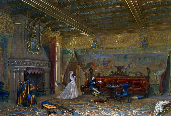 Design of a Gothic style hall for Chateau de Pierrefonds, with the emperor and empress, 1858, watercolor and gouache by Eugene Emmanuel Viollet-Le-Duc (1814-1879)