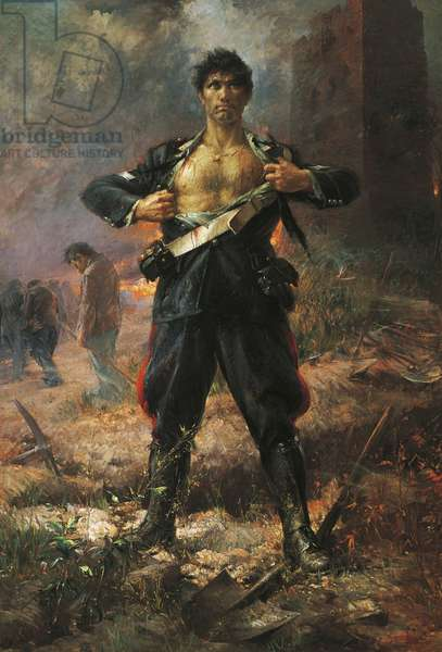 Young carabineer Salvo D'Acquisto's sacrifice, gold medal for bravery (oil on canvas)