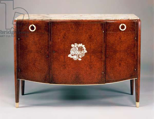 Commode, 1925, by Jules Leleu (1883-1961), in amboina wood, ivory, marble and brass. France, 20th century.