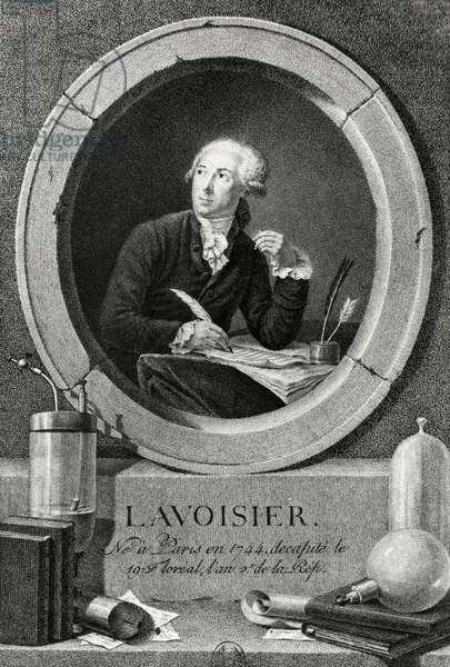 Portrait of Antoine-Laurent Lavoisier (Paris, 1743-1794), French chemist, biologist and economist, engraving from the Portrait of Antoine-Laurent Lavoisier and his wife, painting by Jacques-Louis David (1748-1825)