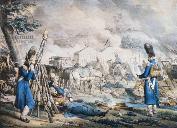 Bivouac of French soldiers during the Russian campaign, painting by Horace Vernet, Napoleonic Wars, 19th century