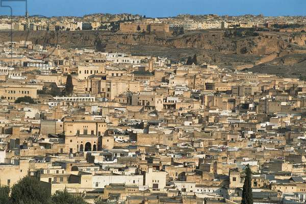 Morocco, Fes, Aerial view of old walled city of Fes el Bali, medina of Fes (UNESCO World Heritage List, 1981) (photo)