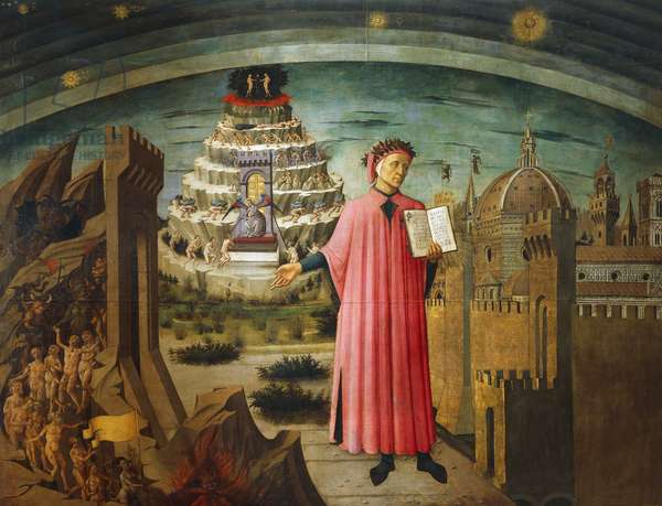 Divine Comedy, by Dante Alighieri (1265-1321), by Domenico di Michelino (1417-1491), fresco, Basilica of Saint Mary of Flower, Florence, Italy, 1465