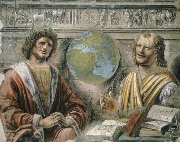Philosopher Heraclitus (535 BC-475 BC) and Democritus (460 BC-360 BC), 1477, by Donato Bramante (1444-1514), fresco transferred to canvas, 102x127 cm
