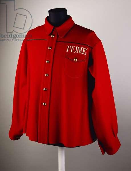 "Jacket belonged of Gabriele D'annunzio, red woolen cloth jacket bearing inscription ""Fiume"""