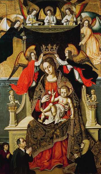 The Virgin and Child with Angels and Donors, 1475-1500, by the Master of Castelsardo (active ca 1475-ca 1525), egg tempera on canvas laid on wood panel, cm 165.1x96.5