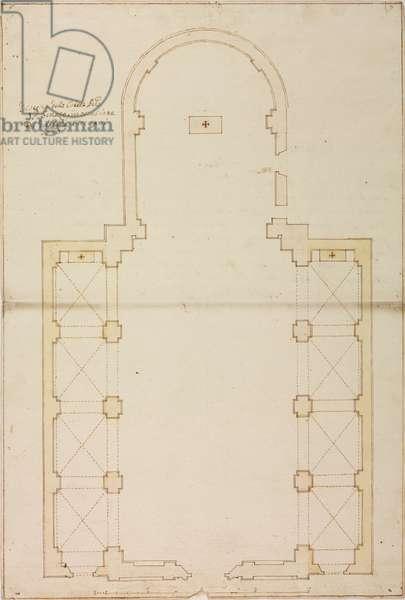 Design for expansion of parish church of Senago, parish of Bollate, April 9, 1767, Cardinal Giuseppe Pozzobonelli, plan, Italy, 18th century