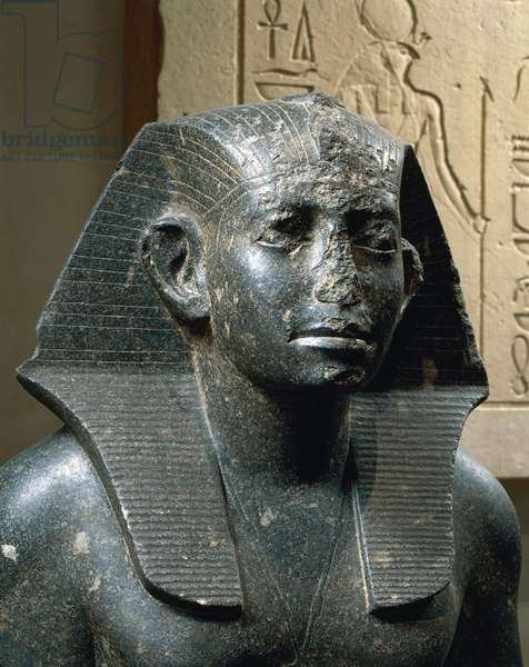 Diorite statue of young Sesostris III from Medamud, detail of the head, Medamud, Dynasty XII