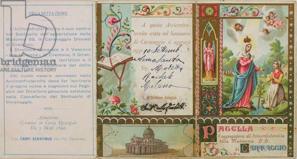 Membership card of Archconfraternity of Our Lady of Caravaggio, 1890, Italy, 19th century