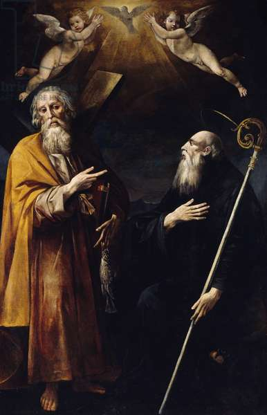 Saints Andrew and Benedict with Holy Spirit above them and two adoring putti, by Giuseppe Cesari called Cavalier d'Arpino (1568-1640), oil on canvas, 1635, Church of Saint Andrew Apostle, Arpino, Lazio, Italy