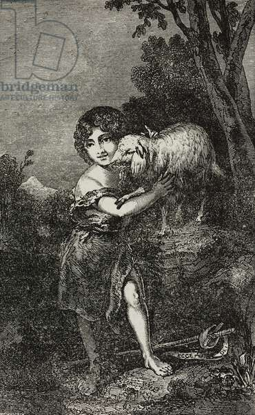 Saint John and Lamb, after painting by Bartolome Esteban Murillo, illustration from Teatro universale, Raccolta enciclopedica e scenografica, No 386, November 27, 1841