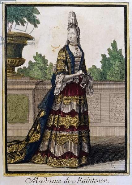 Portrait of Madame de Maintenon, born Francoise d'Aubigne (Niort, 1635 - Saint-Cyr, 1719), mistress and morganatic wife of Louis XIV of France. Engraving, 17th century