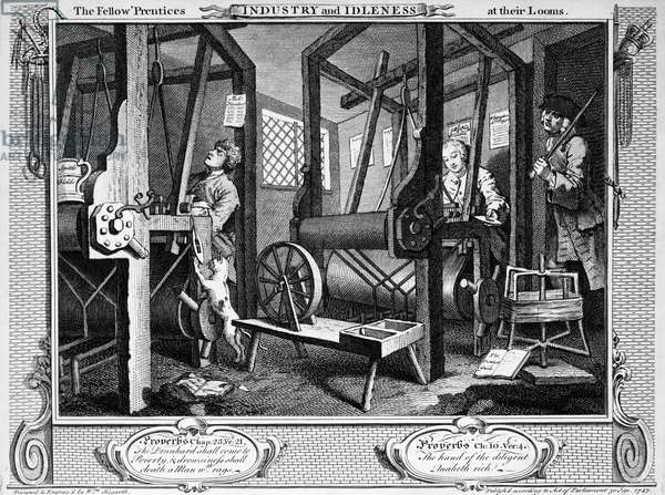 Hand-loom weaving, 1747, By William Hogarth (1697-1764), Engraving from Industry and Idleness, Table I., England, 18th century