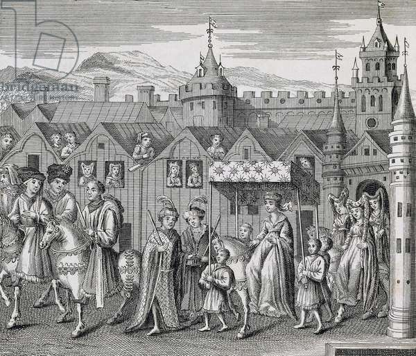 Isabella of Bavaria marrying King Charles VI of France in Paris,1385, engraving. France, 14th century.