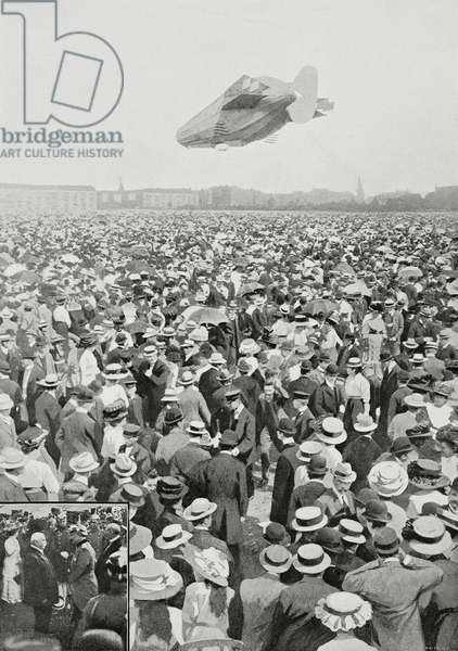 The Zeppelin 3 (LZ 3) received in triumph by the crowd in Tegel; Ferdinand von Zeppelin (1838-1917) with William II of Prussia and Germany (1859-1941), Berlin, August 29, 1909, Germany, photo by Salah Aziz