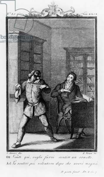 Ottavio inviting Arlecchino to listen to sonnet, illustration for fanatical poet, comedy by Carlo Goldoni (1707-1793), engraving by Antonio Viviani (1797-1854) after drawing by G Steneri, from Commedie di Carlo Goldoni