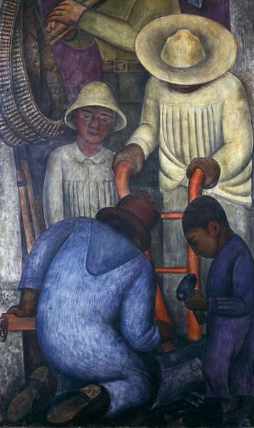 Work, 1928, by Diego Rivera (1886-1957), detail from the Ministry of Education frescoes (1923-1928), Mexico City. Mexico, 20th century.