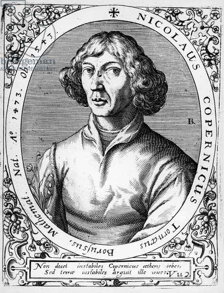 Portrait of Mikolaj Kopernik known as Nicolaus Copernicus (Torun, 1473-Frombork, 1543), Polish astronomer, engraving