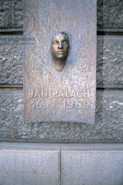 Close-up of a memorial, Jan Palach Memorial, Wenceslas Square, Prague, Czech Republic (photo)