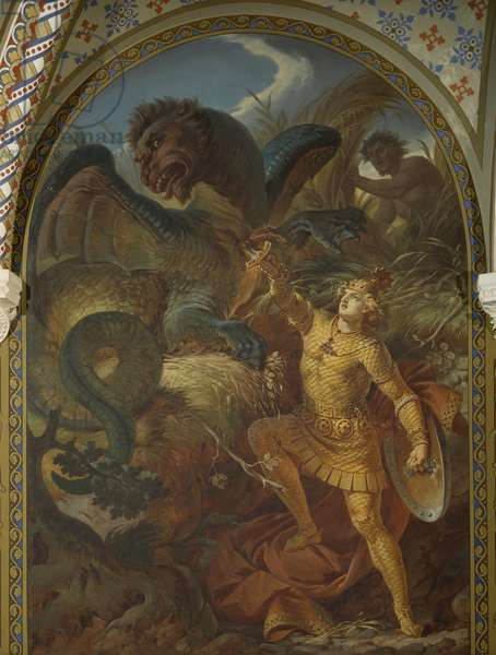 Germany, Fussen, Neuschwanstein Castle, Siegfried wielding sword slays Fafner dragon, from cycle Ring of Nibelung, by Wilhelm Ernst Ferdinand Franz Hauschild (1827-1887)