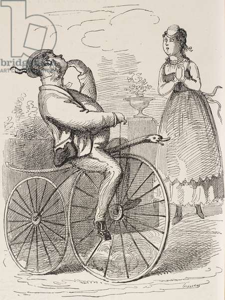 Man on velocipede, illustration by T Denoue and A Belloguet from Journal Amusant, No 669, October 24, 1868