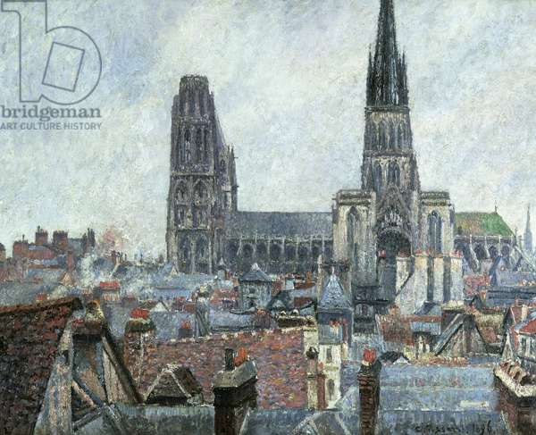 Roofs of Old Rouen: Grey Weather (Cathedral), 1896, by Camille Pissarro (1831-1903)