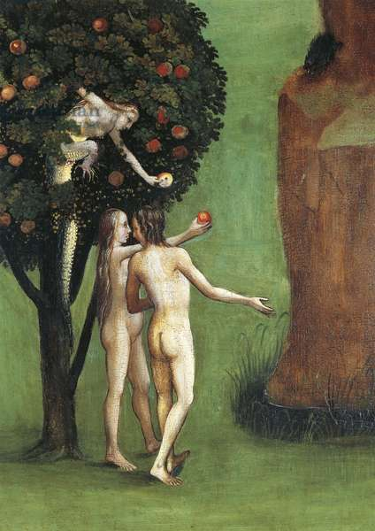 Austria, Vienna, Hieronymus Bosch (1450-1516), The Last Judgment triptych, central panel, Adam and Eve receiving the Apple from the Snake, detail, 1504