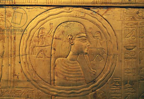 Relief on left outer panel of second funeral chapel, Treasury of Tutankhamun, Egypt, Egyptian civilization, New Kingdom, Dynasty XVIII