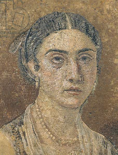 Floor mosaic depicting female portrait, from Pompeii , Campania, Roman Civilization, 1st Century