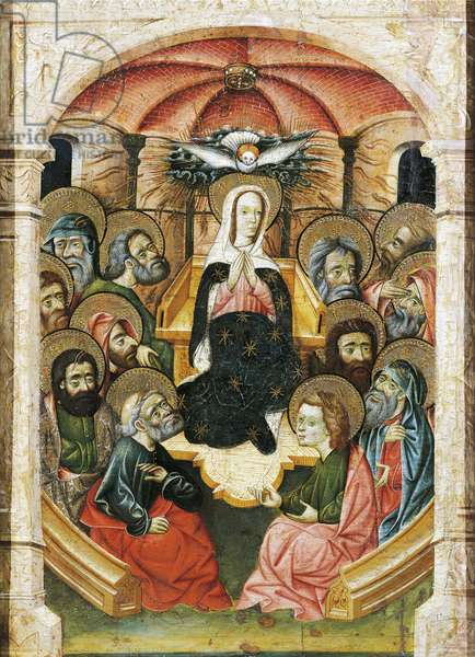 Pentecost, altarpiece fragment, 1437-1445, by Blasco de Granen (active 1422-1459), tempera on panel, 113x68 cm