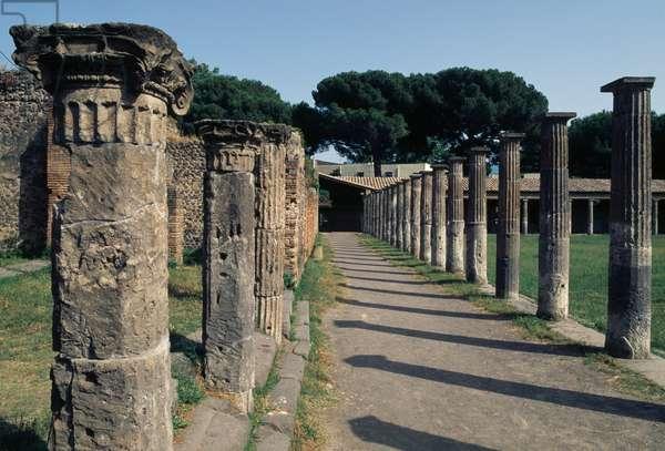 Colonnade of Quadriporticus of Theaters, known as Gladiators' Barracks, Pompeii (UNESCO World Heritage Site, 1997), Italy, Roman civilization, 1st century BC-1st century AD