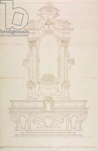 Design for high altar in church of Saint Charles Borromeo, Sirone, church of Oggiono, May 2, 1755, Cardinal Giuseppe Pozzobonelli, elevation drawing, Italy, 18th century