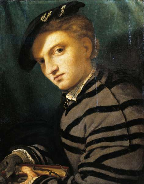 Portrait of young man by Lorenzo Lotto (1480 ca- 1556), oil on panel, circa 1526