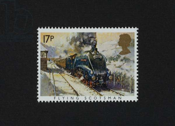 Postage stamp from series honoring Steam Locomotive, 1985, depicting Flying Scotsman, United Kingdom, 20th century