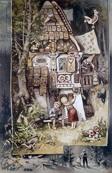 Hansel and Gretel, illustration by Hermann Vogel (1854-1921) for the folk tale by the brothers Jacob (1785-1863) and Wilhelm (1786-1859) Grimm