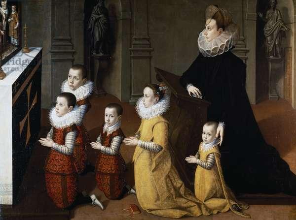 Portrait of Chiara Albini Petrozzani with their children in prayer (oil on canvas)