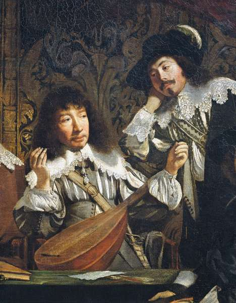 Academy of music, or Meeting of amateurs, circa 1640, by unknown artist of French school, detail of tuning of lute, oil on canvas, 116x146 cm, France, 17th century