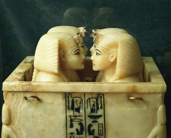 Treasure of Tutankhamen, chest with canopic jars of Tutankhamen, from Thebes, detail
