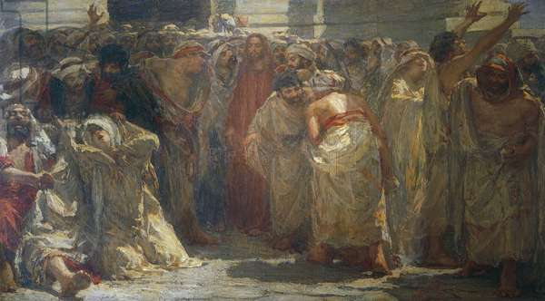 The adulteress, 1903, painting by Attilio Andreoli (1877-1950), oil on canvas, 275x350 cm. Italy, 20th century.