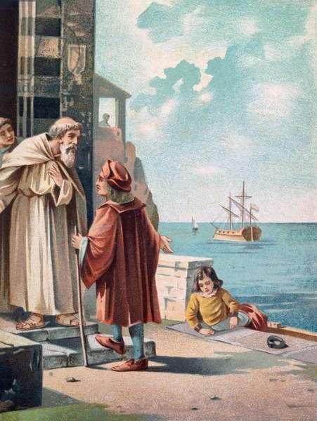 Arrival of Christopher Columbus at monastery of Santa MariadeLaRabidawith his son Diego, Palos de la Frontera, Spain, colored illustration, 19th century