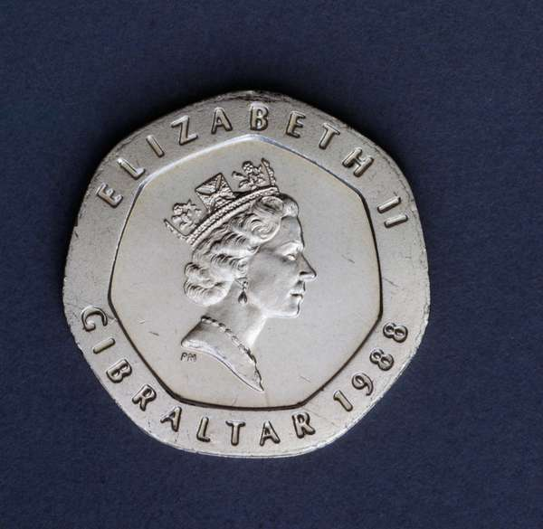 20 pence coin, 1988, obverse, queen Elizabeth II Windsor (1926-), Gibraltar, 20th century